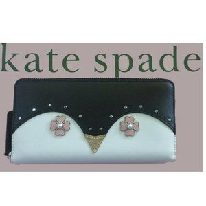 Kate Spade Frosty Penquin Large Leather Zip Wallet